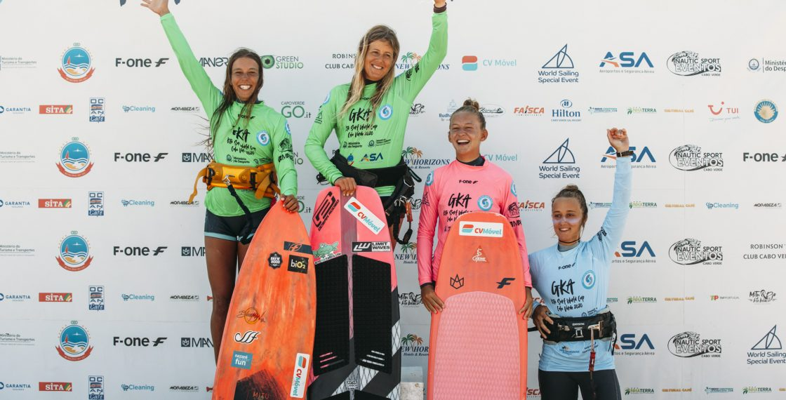 F-ONE Girls on Podium at the GKA Kite-Surf World Cup Cape Verde 1